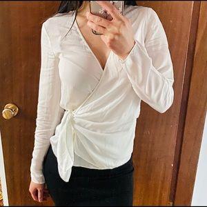 Aritzia Babaton White Long Sleeve Wrap Top